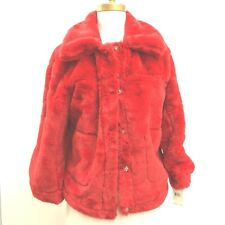 New Urban Republic Womans Punky Red Faux Fur Jacket Coat USA Sz S