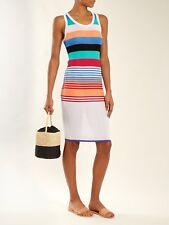 DIANE VON FURSTENBERG White Stripe Semi-Sheer Swimsuit Cover-Up Beach Dress S 6