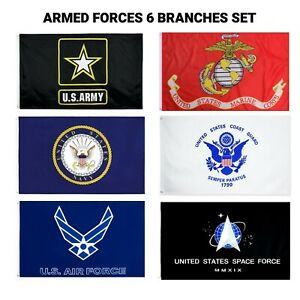 Wholesale Lot 3x5 6 Branches Military Flag Set Flags Veteran Space Force 100D