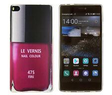 Case f Huawei P8 Schutzhülle Tasche Cover Etui Nagellack Flasche rot style