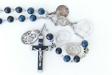Vintage Blue Black Ebony Rosary w 5 Medals from France 1 may be Antique Sterling