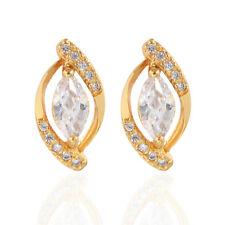 Women Elegant Gold Plated Clear Marquise Cubic Zirconia CZ Stud Earrings Jewelry
