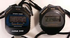 Pair of Ultrak 340 Large Display Cumulative Water Resistant Sports Stopwatches.