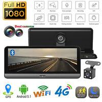 """8"""" Android Car Dash Cam 4G WiFi ADAS GPS Dual Lens 1080P HD DVR Camera Recorder"""