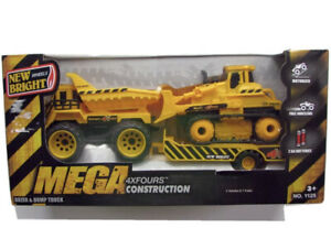 New Bright MEGA 4XFOURS Motorized Construction Dozer & Dump Truck