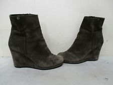 Prada Brown Suede Leather Zip High Wedge Heel Ankle Boots Womens Size 39.5 EUR