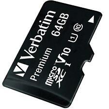 Verbatim Premium 64 GB Micro SD SDXC Memory Card + Adapter Class 10 Card Card