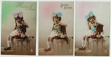 SUPER Series Set of 3 Postcards - French Girl Telephone Real Photos RPPC 1920s