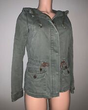H&M L.O.G.G. Boho Chic Women's Army Green Parka Jacket Size 4