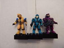 Halo Mega Bloks Figure Set: Yellow Elite Pilot & Cyan Spartan & Purple Spartan