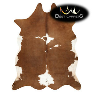AMAZING artifical Cowhide Rug Cow printed brown white Large size Best Carpet