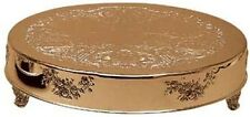 "Gold Finish Embossed Cake Stand Plateau 18"" Round (New)"