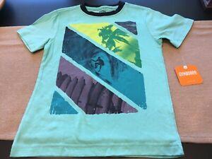 NEW Gymboree Boys Size 4 Teal Aqua Blue Tropical Surf Short Sleeve T-Shirt
