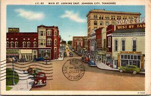 Vintage 1930's Main Street, Looking East, Johnson City Tennessee TN Post Card