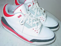 2006 Nike Air Jordan Retro 3 White/Fire Red/Cement Shoes Size 13 Sold As Is!