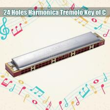 Suzuki Study-24 24 Holes Harmonica Tremolo Key of C with Cleaning Cloth Box Q9S1