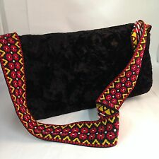 """Vintage Black CRUSHED VELVET /Velour Purse with Wide 2"""" Strap Red Yellow Hippie"""