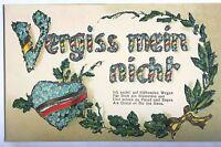 16250 Kitsch Ak ,en Relieve, Vergiss Mein No, Gedichtspruch, Brillo Um 1815