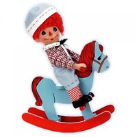 """Precious Moments Rockin Raggedy ANDY 9"""" Doll in Wood Rocking Horse by Linda Rick"""