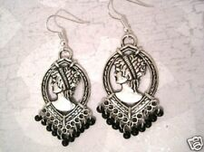*LARGE CAMEO* Black Beaded Gothic Earrings Dita Whitby