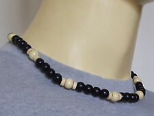 Surfing tribal black/white colour wood necklace N0268
