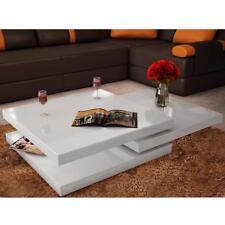 Tavolino da Caffè con 3 Ripiani Bianco Lucido Elegante Tavolo Salotto A1A1