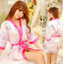 Women Girl Sexy Sleepwear Lingerie Robe Japanese Kimono Costume Pink ♫