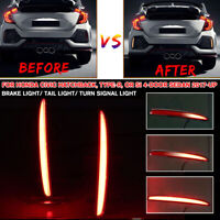 Sequential LED Rear Bumper Reflector Brake Tail Light For Honda Civic Type-R