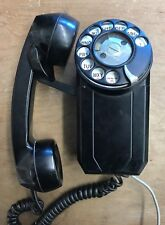 Art Deco Wall Hung Telephone Black Small Rotary Rare Unmarked