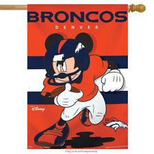 "Denver Broncos Nfl Mickey Mouse Football House Flag Licensed 28"" x 40"""