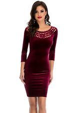 Womens wine red velvet sleeved celeb bodycon stetch boutique dress size 8 & 10