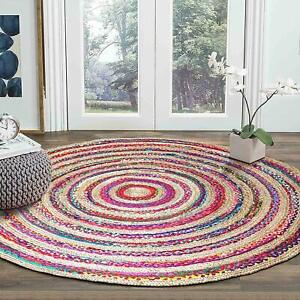 Rug 100% Natural Jute & Cotton Braided Style 3x3 Feet Carpet Reversible Area Rug