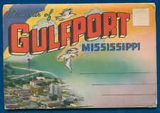 Gulfport Mississippi linen souvenir postcard folder foldout ms #1