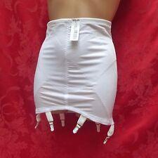 VTG Open Bottom Girdle 6 Garters White Silky Nylon Spandex Tight  NWT L/XL 30 32