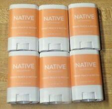 Lot Of 6 Native Deodorants Sweet Peach & Nectar .35 oz Travel Size Mini