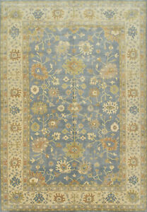 Oushak Rug, 12'x18', Blue/Ivory, Hand-Knotted Wool Pile
