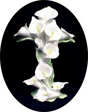 Beautiful Porcelain Calla LILY Cross Religious Wedding Cake Topper Top GOD bless