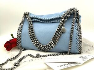 AUTH NWT $865 Stella McCartney Falabella Big Shaggy Deer Light Blue Shoulder Bag