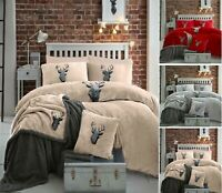 Teddy Bear Fleece Stag Head Luxury Duvet Cover Set Cosy Warm Soft Bedding Sets