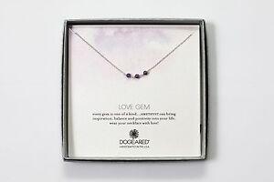 Dogeared love gem sterling silver triple linked Amethyst necklace