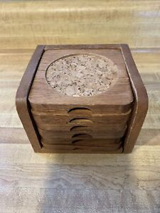 Set of Wood Oak and Cork Coasters (6) with Stand/Holder, Vintage