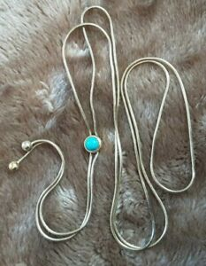 """MILOR ITALY 925 GOLD OVER STERLING SILVER 31"""" LARIAT NECKLACE W TURQUOISE #918B"""