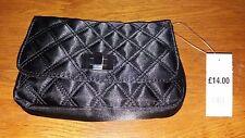 Black Satin Quilted Clutch/Shoulder Bag