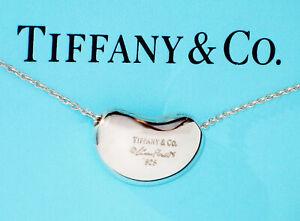 Tiffany & Co Elsa Peretti18mm Bean Pendant Sterling Silver Chain Necklace