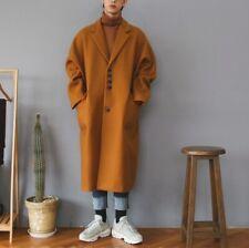 Men's Woolen Overcoat Jacket Loose Fit Lapel Single Breasted Outwear Trench Coat