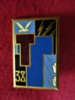 INSIGNE BROCHE BADGE PUCELLE 38ème REGIMENT TRANSMISSION DRAGO PARIS  H576