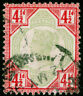 SG206, 4½d green & carmine, USED. Cat £45.