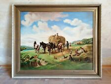 "Ölbild Gemälde ""Heuernte"" Hermann Kaufmann 1869 Öl auf Leinwand"