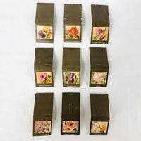 Vintage Diamond Matchbooks Covers Lot of 9 Flowers Rose Tulip Iris Peony Pansies
