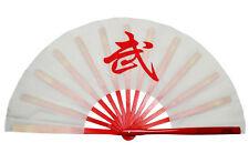 """13""""Chinese Kung Fu Tai Chi Wushu martial art Fan Red Bone Whit fan Red""""Wu"""" fan"""